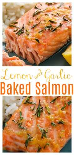 Lemon, Garlic, and Thyme Baked Salmon - Baker by Nature 21 Day Fix Salmon Recipe, Healthy Salmon Recipes, Clean Eating Recipes, Seafood Recipes, Crockpot Salmon Recipe, Clean Foods, Fish Recipes, Clean Eating Salmon, Eating Clean