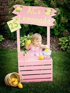 lemonade stand DIY Photoprop! maybe change painted letters for the name to Velcro removable letters so you can change it out for different kids!!!