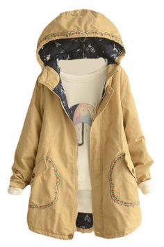 Embroidery Long Sleeve Zipper Hooded Long Padded Coat