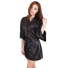 6347f610cf Women Sexy Large Size Faux Silk Satin Night Kimono Robe Short Bathrobe  Perfect Wedding Bride Bridesmaid