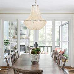 Add texture & visual interest to any space by infusing natural elements, even in the lighting. The tone-on-tone scheme creates a serene atmosphere, while the chandelier adds a sense of drama.  💡: Brielle Chandelier #Tips #TipsAndTricks #MondayMotivation #MotivationMonday #homegoals #hometips