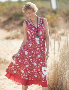 Deerberg Kleid Mariko rot-bedruckt Fashion Boutique, Feminine, Fashion Outfits, Casual, Clothes, Dresses, Inspiration, Products, Fashion Styles