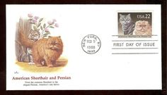 1988 FIRST DAY COVER American SHORTHAIR + PERSIAN Cats