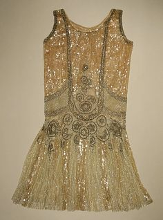 Evening dress Date: 1926 Culture: American Medium: cotton, sequins, beads