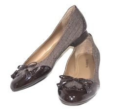 LIZ CLAIBORNE Dara Brown Fabric Faux Leather Toe Ballet Flats Loafers 8.5 #LizClaiborne #LoafersMoccasins #WeartoWork