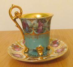 Vintage Rudolf Wachter Bavaria Dresden Demitasse Tea Cup Saucer Gold Signed