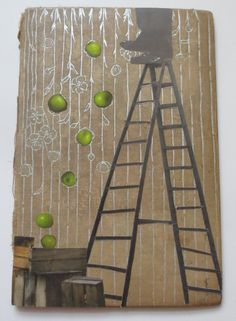 an apple a day original collage on antique book cover by kathleen sawyer at thebackoftheboat, on etsy (sold)