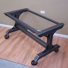 Industrial steel rolling table base on heavy duty vintage style casters.  This base is suitable for the heaviest table tops including granite, marble, butcher block, concrete, bowling lane and others. The top rails are pre drilled for attaching the tabletop of your choice.  Makes a stunning kitchen island, prep work station, kitchen or dining table.  Comes complete with 4 heavy duty swivel casters. Not your typical hardware store casters,these are rated at 300 lbs capacity EACH. For the best…