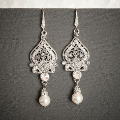 GRACE, Victorian Style Bridal Earrings, Wedding Rhinestone Earrings, Swarovski Crystal and Pearl Dangle Earrings, Bridal Chandelier Earrings $68