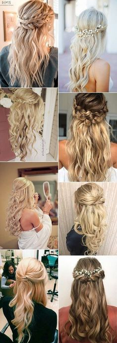 chic half up half down wedding hairstyle ideas