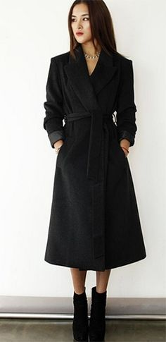 Black Long Sleeve Wool Collar Midi Coat Belted Jacket