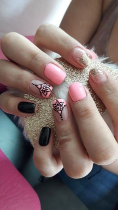 49 Nail Designs Funny, cute, pretty and easy Love Nails, Pink Nails, Pretty Nails, Diy Healthy Nails, Short Nail Manicure, Henna Nails, Mandala Nails, Magic Nails, Finger
