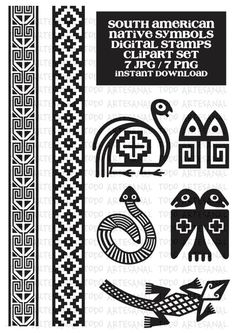 Artículos similares a INSTANT DOWNLOAD - South American Native Symbols - digital stamp / clipart set en Etsy