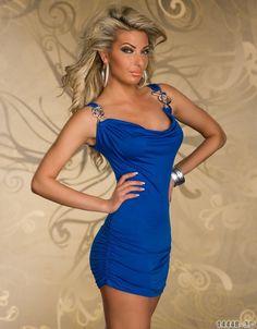 Damen Kleid Minikleid Mini Strandkleid Tunika Wasserfall neu Blau Gr. S  14448 de.picclick.com