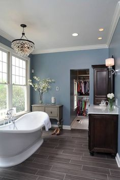 Gray Bathroom Colors: Grey Wood Floors, Blue Walls And White Trim Grey Wood Floors, Grey Flooring, Hardwood Floors, Grey Hardwood, Grey Bathrooms, Beautiful Bathrooms, Bathroom Gray, Bathroom Wall, Bathroom Lighting