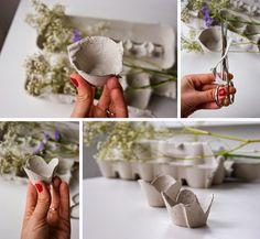 DiariodecoSpring: Diy flores con hueveras de cartón3