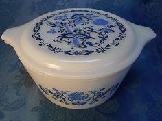 Vintage RARE Pyrex 1 Qt Casserole Dish 473 Promotional Blue Floral Onion Lid   eBay