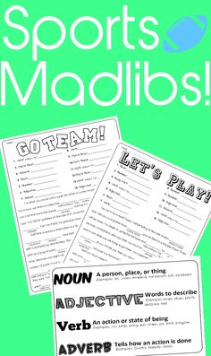 """________ (VERB) batter batter! You're up and it's time to have fun and practice the parts of speech. You'll be cracking up as a class and sneaking in some practice with recognizing and using the parts of speech. - """"Let's Play!"""" Mad Lib including 13 opportunities for student practice. - """"Go Team!"""" Mad Lib including 14 opportunities for student practice. - Parts of Speech Cheat Sheet to help guide students. Each sheet has been designed to used with partner or solo."""