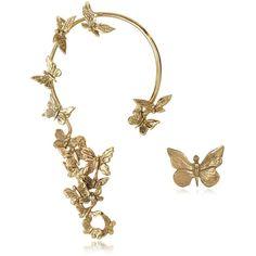 Bernard Delettrez Earrings Butterflies Bronze Ear Cuff ($325) ❤ liked on Polyvore featuring jewelry, earrings, brinco, stud earrings, wing ear cuff, butterfly wing earrings, wing jewelry and butterfly ear cuff
