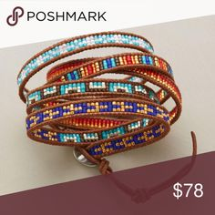 KALEIDOSCOPE 5 WRAP MULTI BRACELET -- Japanese cylinder beads assume a kaleidoscope-like quality, artistically arranged between leather borders. Differing segments per bracelet stack when wrapped at the wrist. Chan Luu originals with sterling silver butto Beaded Wrap Bracelets, Seed Bead Bracelets, Handmade Bracelets, Beaded Jewelry, Handmade Jewelry, Seed Beads, Mesh Bracelet, Jewelry Bracelets, Armband Tutorial
