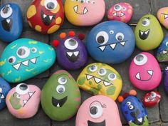 Rock Monsters - great craft to make at the party... or make ahead & put in favor bag or use as decorations on the food table & let kids choose the one they want to take home.  :o)
