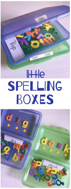 Little spelling boxes, because building words with foam letters are so much more fun than ordinary letter cards!