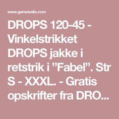 """DROPS 120-45 - Vinkelstrikket DROPS jakke i retstrik i """"Fabel"""". Str S - XXXL. - Gratis opskrifter fra DROPS Design"""