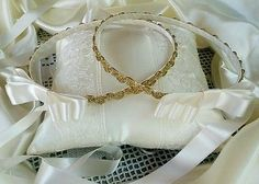 PAIR OF GREEK STEFANA + PILLOW - GOLD SET OF HANDMADE ORTHODOX WEDDING CROWN