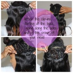 Natural hair clip in protective style