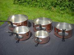 Copper Pans Les Cuivres de Faucogney Set of Five Vintage French Copper Professional Graduated Pans Cast Iron Handles Normandy Kitchen Copper by NormandyKitchen on Etsy
