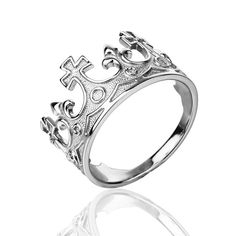 tags: crown ring princess ring queen ring king ring silver crown ring crown sterling silver tiara ring crown jewerly princess jewerly queen IF YOU
