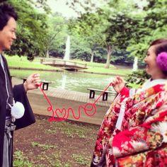 #LOVE #赤い糸#手作り#200円w#代々木公園#色打掛#赤#鶴#梅