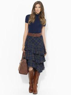 Plaid Tiered-Ruffle Skirt - Lauren Short Skirts - RalphLauren.com