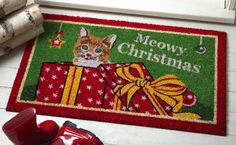 Christmas Kitty Holiday Door Mat