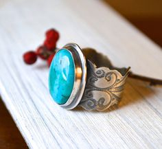 Lovely textured turquoise ring