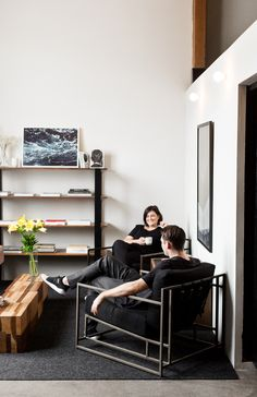 Stephen Kenn and his wife Beks Opperman in their downtown Los Angeles loft space.