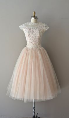 1950's Pale Pink Lace & Tulle Dress