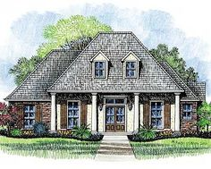 Four pillars support the front porch of this classic Louisiana home plan with matching double dormers above.  Transom windows over the front door let in extra light and brighten the home.  Your family will love the spacious family room with its wall of windows that overlook the covered back porch and its 12' ceilings.  The formal dining room has a stepped ceiling rising from 9' to 11' that really gives it a formal feeling.  In the kitchen there is ample space with a corner sink looking out…