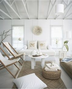 Deck chairs - perfect for upholstering yourself match a theme.. in this instance: white!