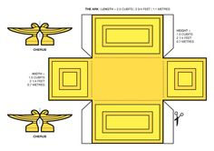 A cardboard cut-out model template for the Ark of the Covenant (from Exodus 25:10-22). PDF version (142 KB)