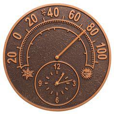 Solstice Indoor/Outdoor Thermometer & Wall Clock