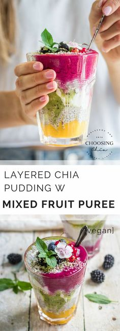 Layered Chia Pudding w Fruit Puree, perfect for Spring, brunches, breakfasts, a sweet treat or healthy snack... you're welcome! #vegan #fruity
