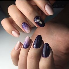 Beige fall nails, Black and beige nails, Color transition nails, Fall nail ideas, Fashion autumn nails, Nails for autumn dress, Nails with rhinestones ideas, Oval nails