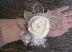 Ivory Wrist Corsage, Burlap and Lace Flower Cuff, Burlap Wedding, Wristlet, Wedding, Rustic Wedding, Mother of Bride Groom, Neutral by TwiningVines on Etsy https://www.etsy.com/listing/219368019/ivory-wrist-corsage-burlap-and-lace