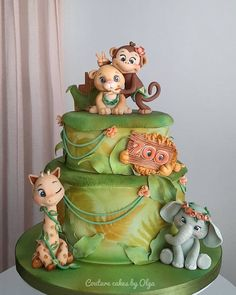 Jungle Birthday Cakes, Jungle Safari Cake, Jungle Theme Cakes, Animal Themed Birthday Party, Safari Cakes, Themed Birthday Cakes, 1st Birthday Girls, Animal Party, Themed Cakes