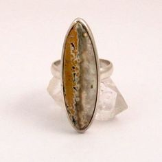 Vintage Sterling Silver Marquise Quartz Ring US Ring by mybooms