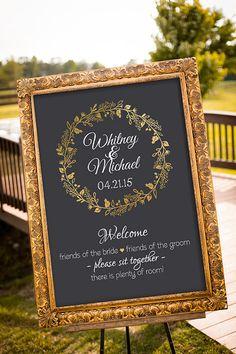 結婚式席サイン、黒とゴールドの結婚式の装飾、印刷可能な結婚式のサイン選択シート サイン、ようこそ結婚式のサイン、黒板看板