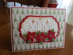 Glowing Candle & Poinsettias by ladybugg61 - Cards and Paper Crafts at Splitcoaststampers