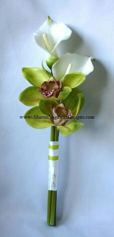 Lovely Arm Sheaf/Presentation/Pageant Style Wedding Bouquet Arranged With: Green Orchids & White Calla Lilies