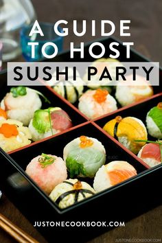 A comprehensive guide to host a sushi party. Learn how to make sushi rice, selection of sushi to serve, equipment, snack & beverage ideas and many other useful tips for a successful sushi feast. Sushi Menu, Diy Sushi, Sushi Party, Sushi Ideas, Food Ideas, Japanese Party, Japanese Dinner, Japanese Food, Make Your Own Sushi